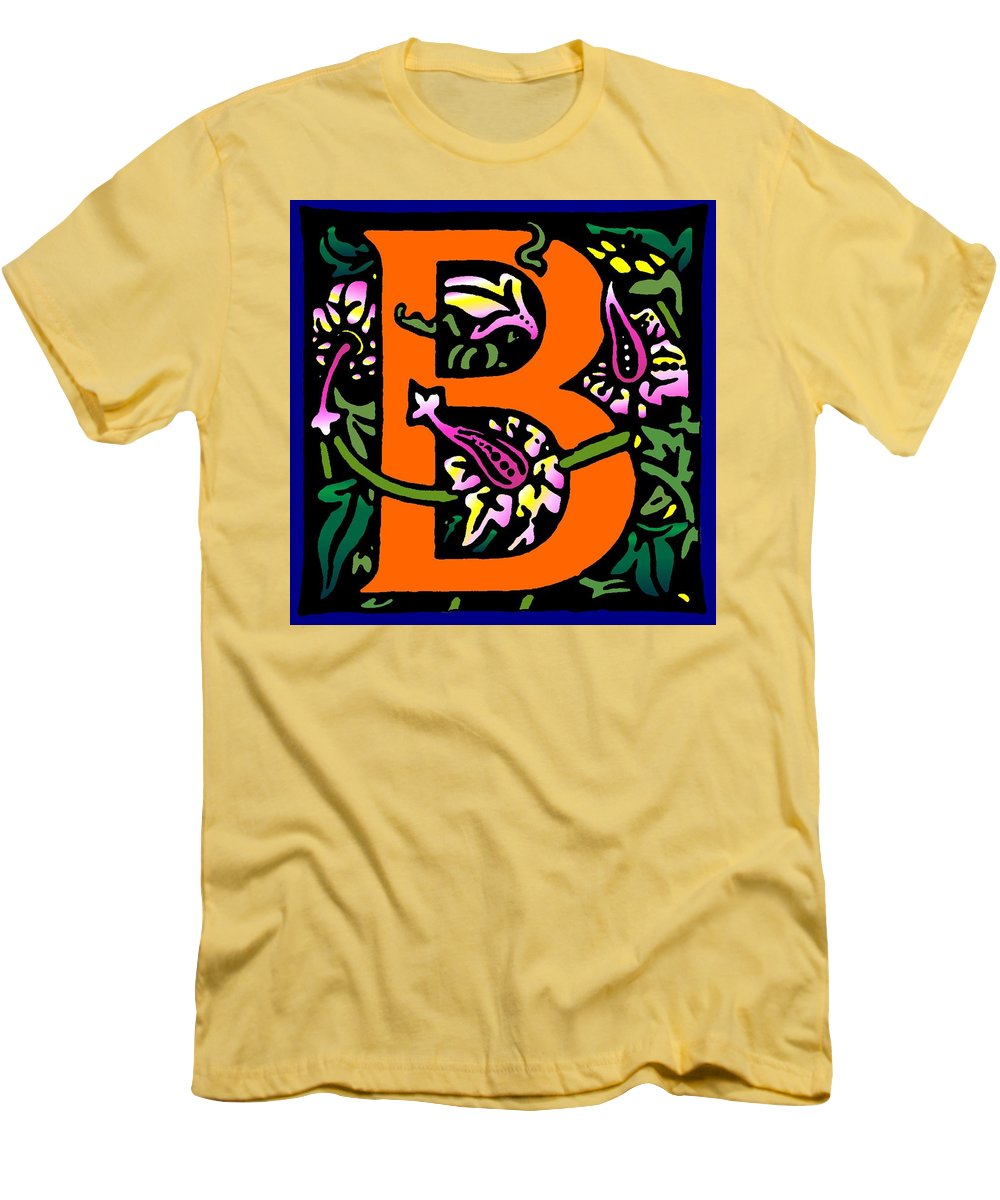 Alphabet Men's T-Shirt (Athletic Fit) featuring the digital art B In Orange by Kathleen Sepulveda