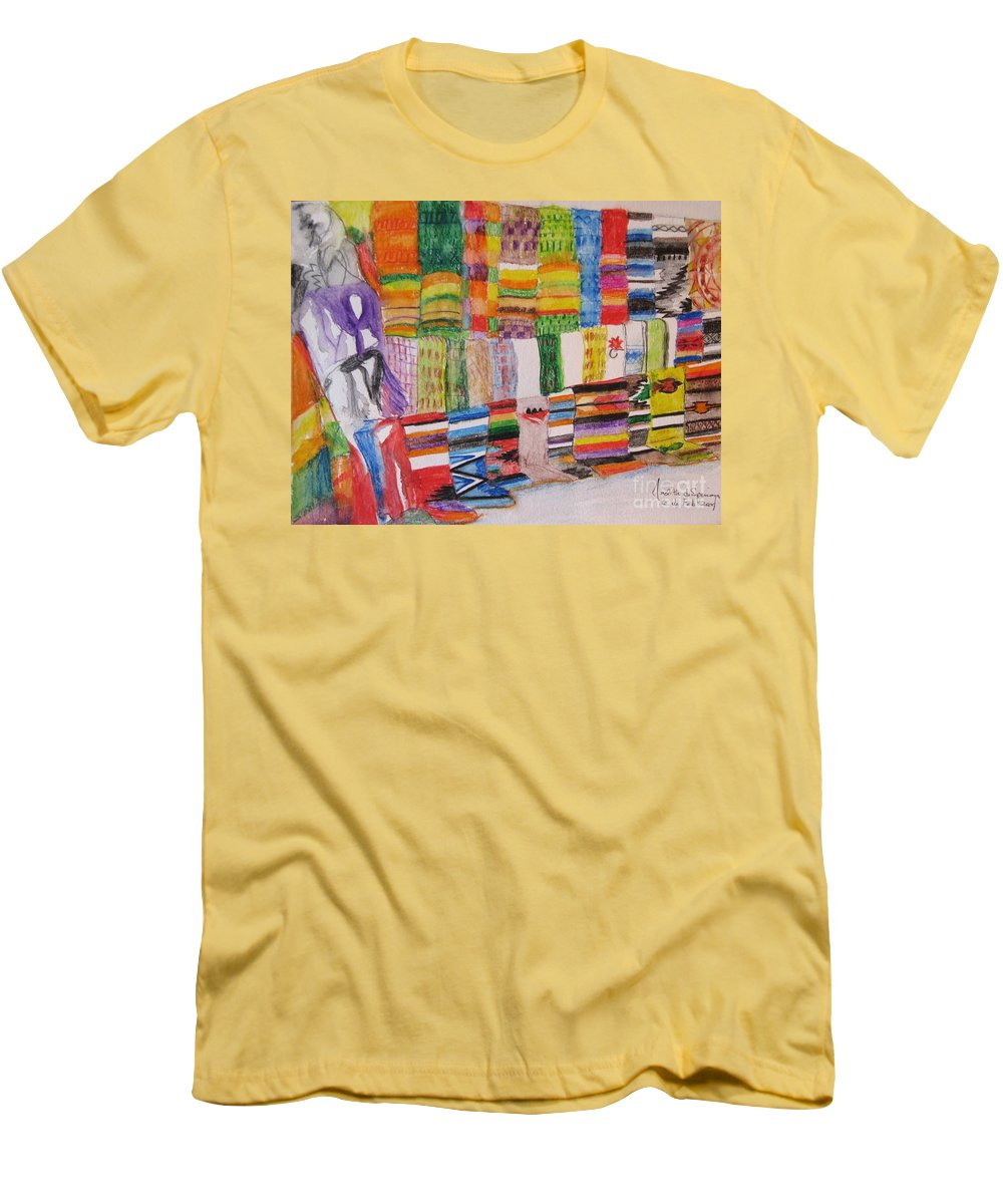 Bright Colors Men's T-Shirt (Athletic Fit) featuring the painting Bazaar Sabado - Gifted by Judith Espinoza