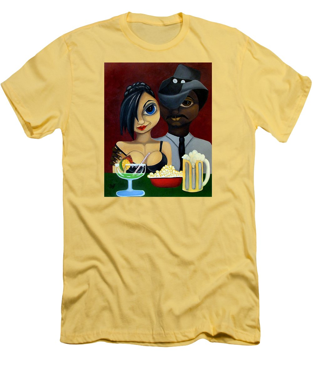 Sweethearts Men's T-Shirt (Athletic Fit) featuring the painting Be My Valentine by Elizabeth Lisy Figueroa