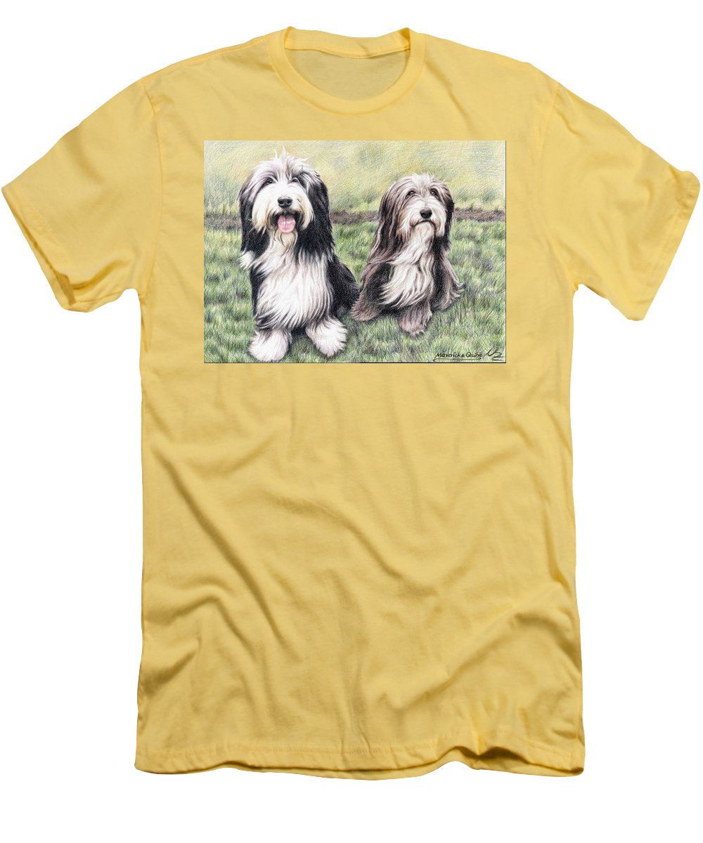 Dogs Men's T-Shirt (Athletic Fit) featuring the drawing Bearded Collies by Nicole Zeug
