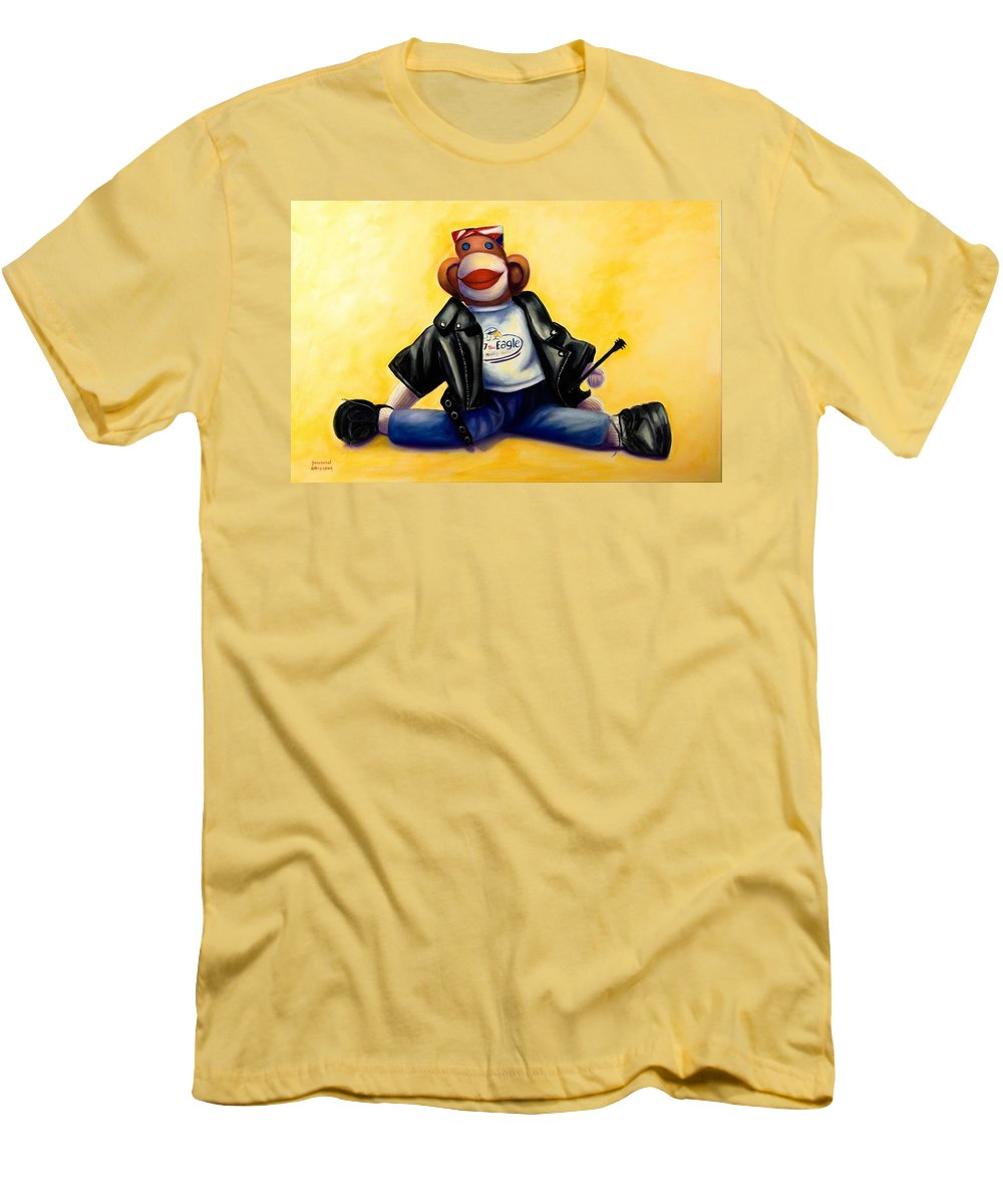 Sock Monkey Brown Men's T-Shirt (Athletic Fit) featuring the painting Biker Dude Made Of Sockies by Shannon Grissom