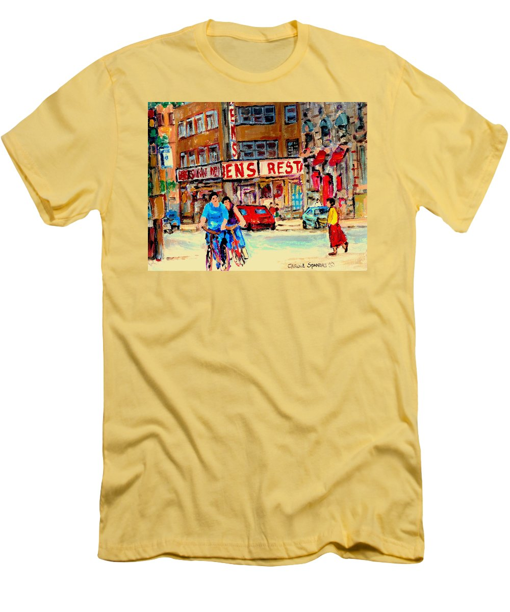 Montreal Men's T-Shirt (Athletic Fit) featuring the painting Biking Past Ben by Carole Spandau
