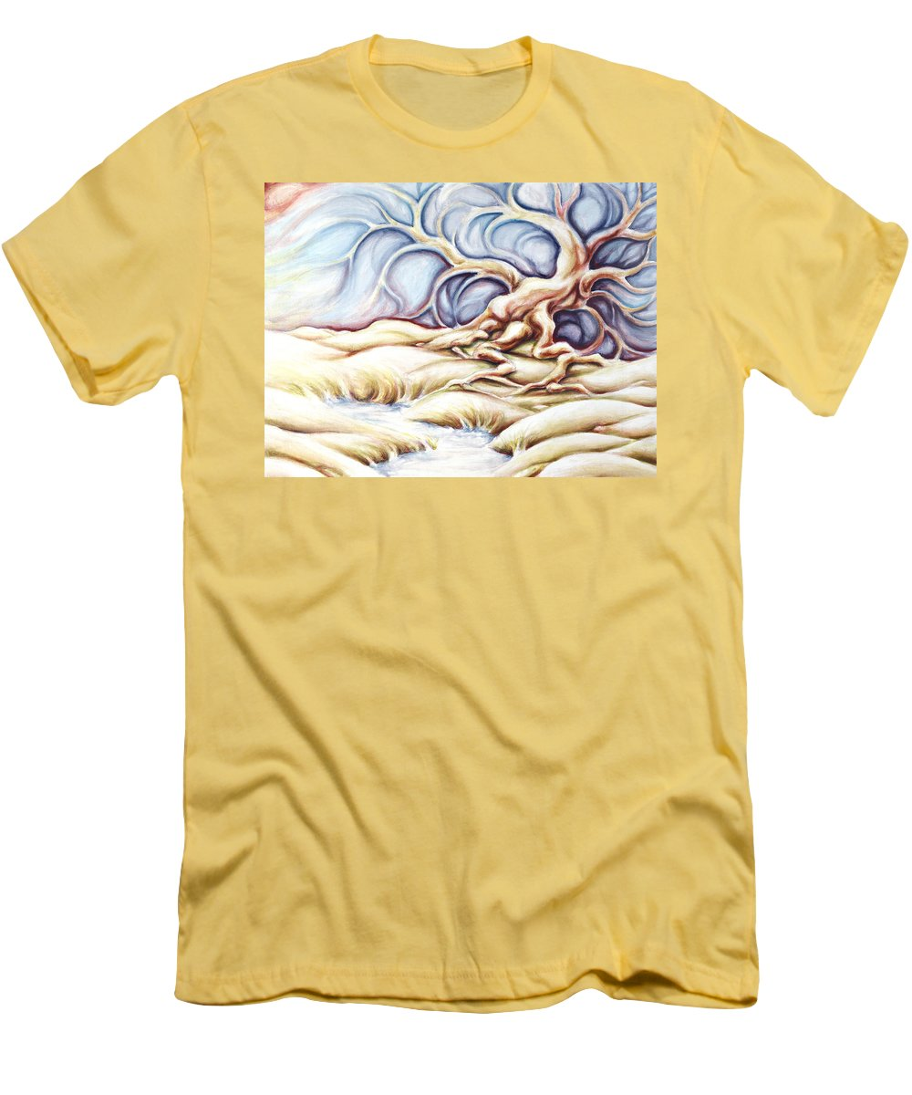 Acrylic Painting Men's T-Shirt (Athletic Fit) featuring the painting Blonde And Blue by Jennifer McDuffie