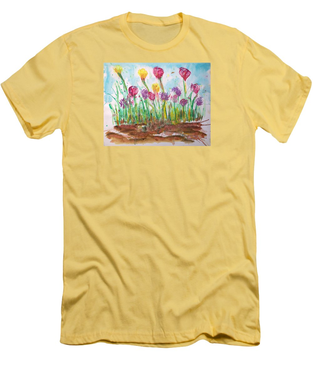 Flowers Men's T-Shirt (Athletic Fit) featuring the painting Blooming Colors by J R Seymour
