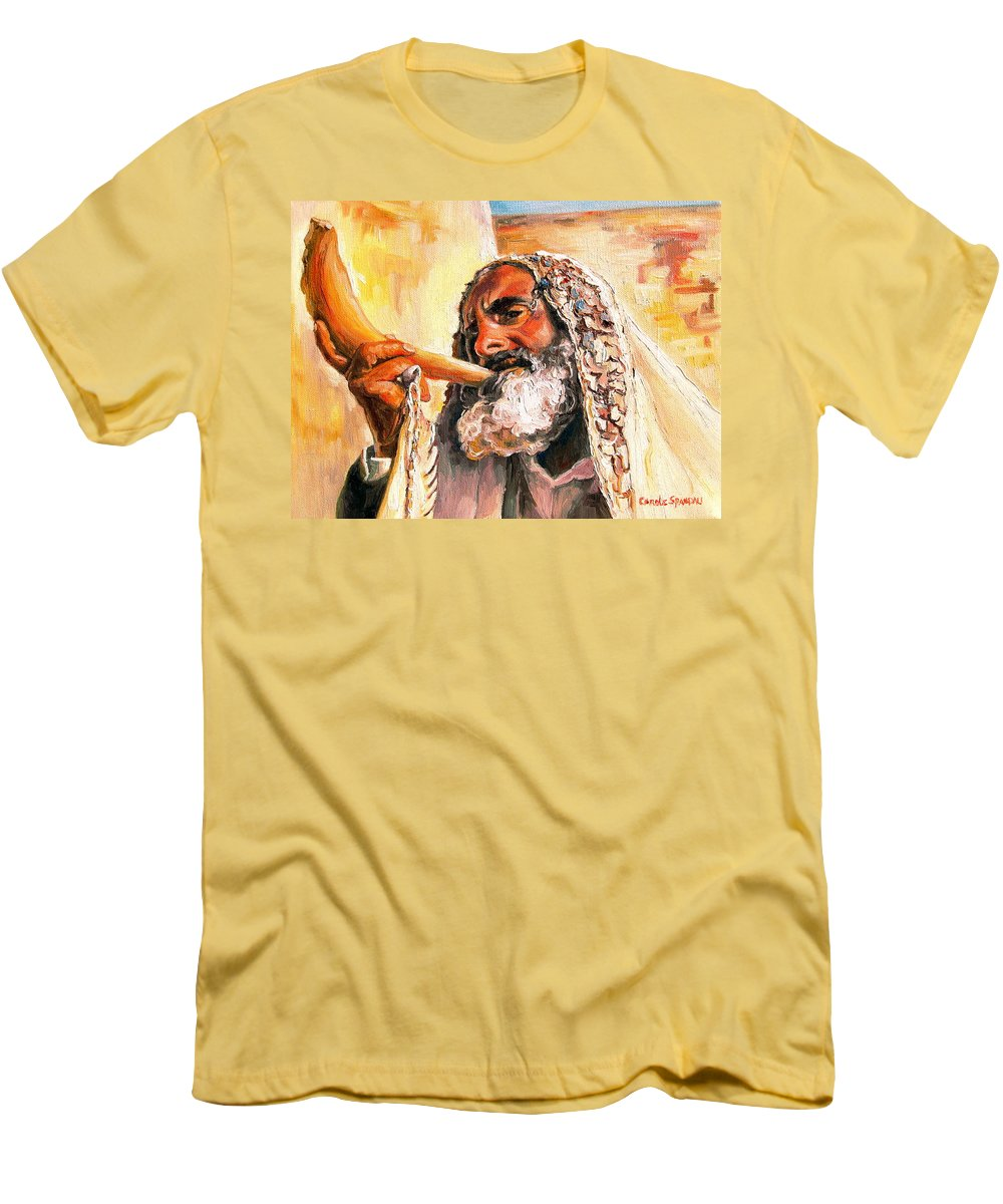 Rabbis Men's T-Shirt (Athletic Fit) featuring the painting Blow The Trumpet In Zion by Carole Spandau