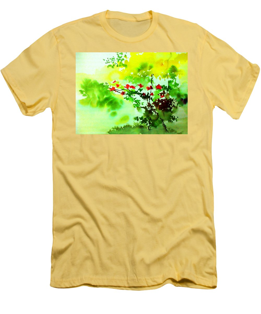 Floral Men's T-Shirt (Athletic Fit) featuring the painting Boganwel by Anil Nene