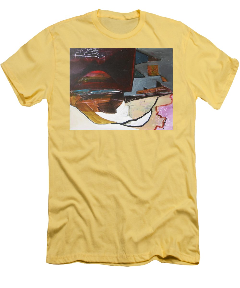 Abstract Atlantic Newfoundland Landscape Seascape Ocean Acrylic Paper Dusk Bonavista Canvas Men's T-Shirt (Athletic Fit) featuring the painting Bonavista At Dusk by Seon-Jeong Kim