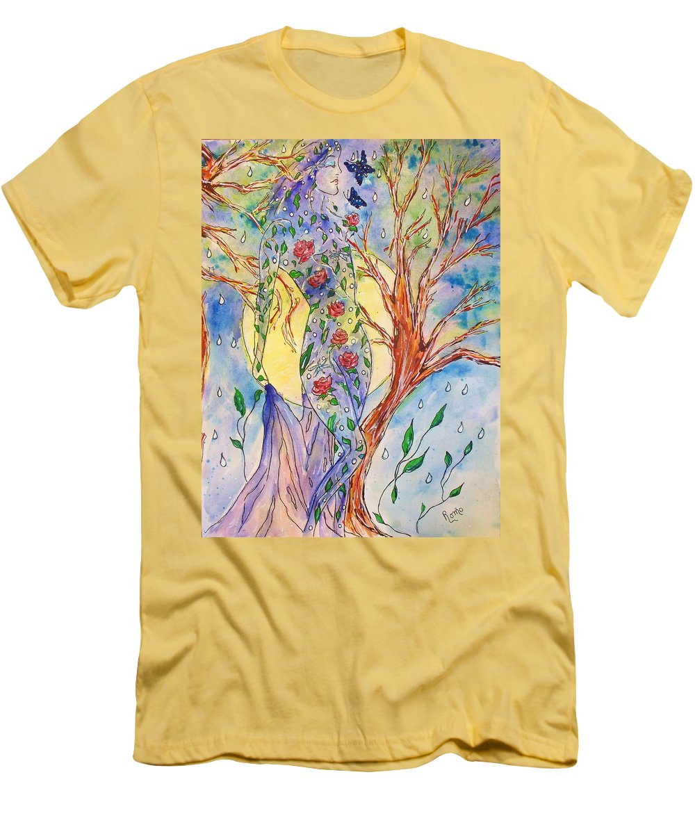 Female Figure Men's T-Shirt (Athletic Fit) featuring the painting Breath Of Life by Robin Monroe