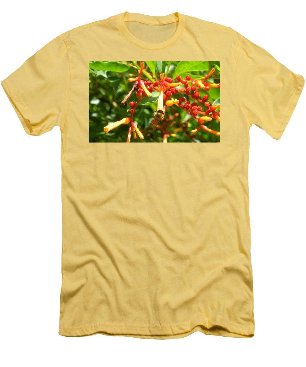 Bee Men's T-Shirt (Athletic Fit) featuring the photograph Busy Bee by Maria Bonnier-Perez