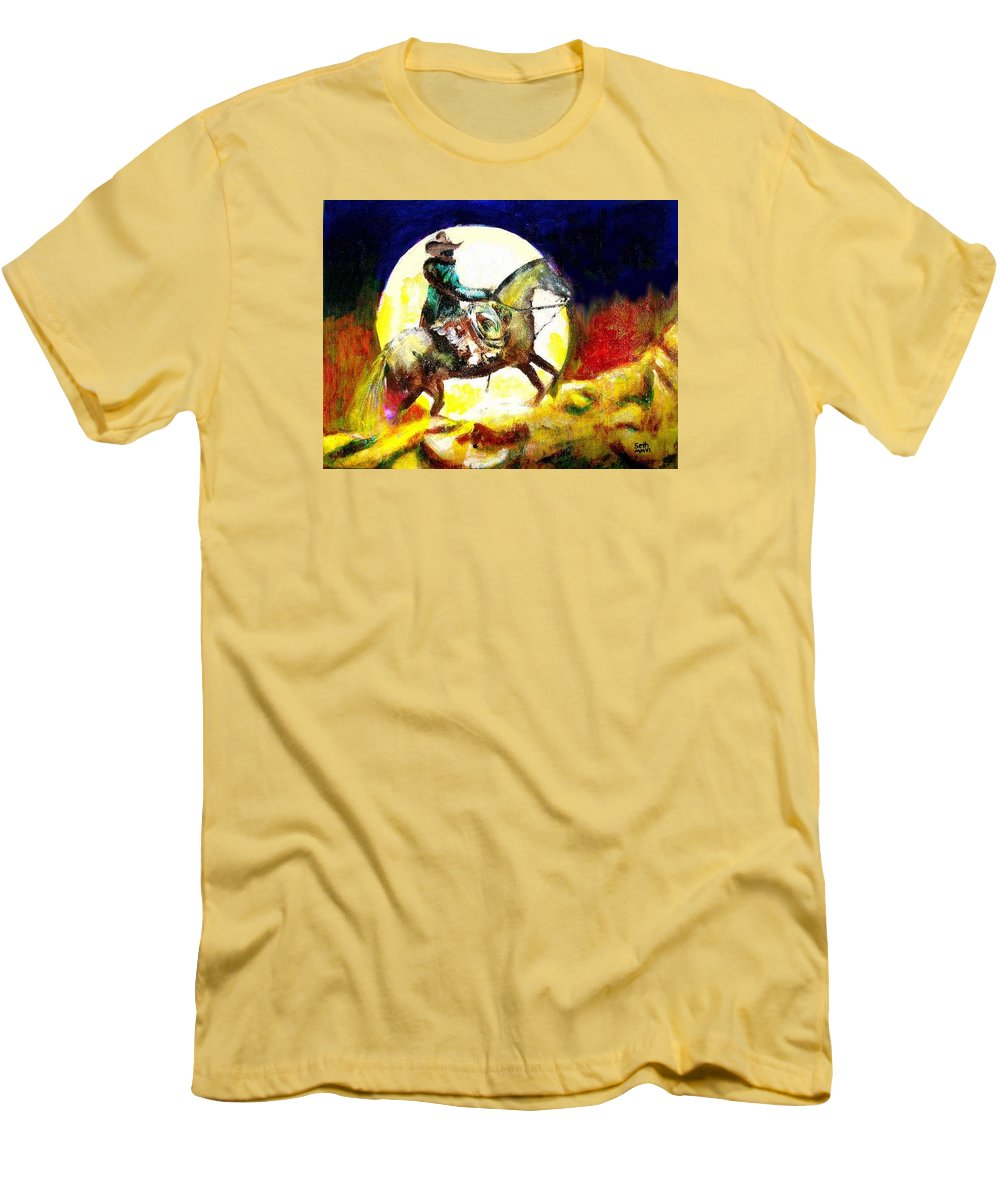 Canyon Moon Men's T-Shirt (Athletic Fit) featuring the painting Canyon Moon by Seth Weaver