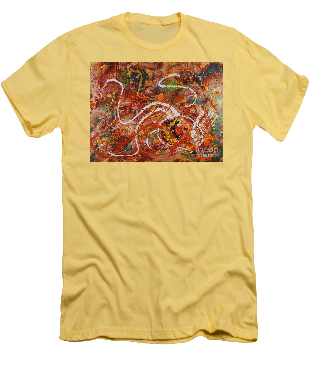 Orange Men's T-Shirt (Athletic Fit) featuring the painting Celebration II by Nadine Rippelmeyer