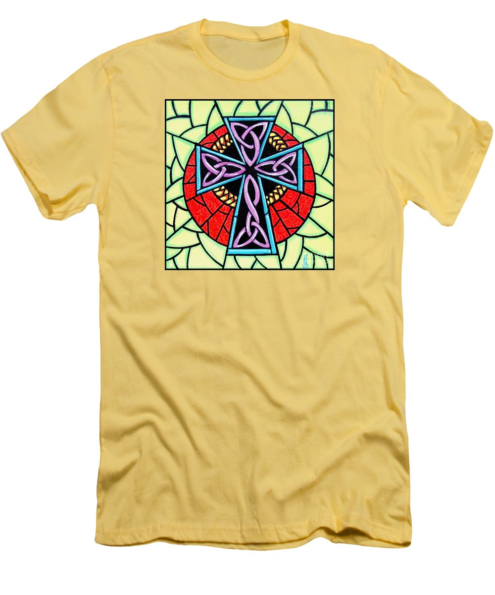Celtic Men's T-Shirt (Athletic Fit) featuring the painting Celtic Cross by Jim Harris