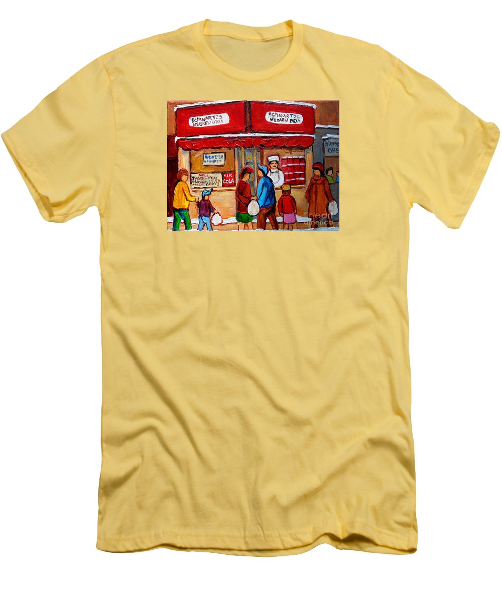 Schwartzs Hebrew Deli Men's T-Shirt (Athletic Fit) featuring the painting Chef In The Window by Carole Spandau