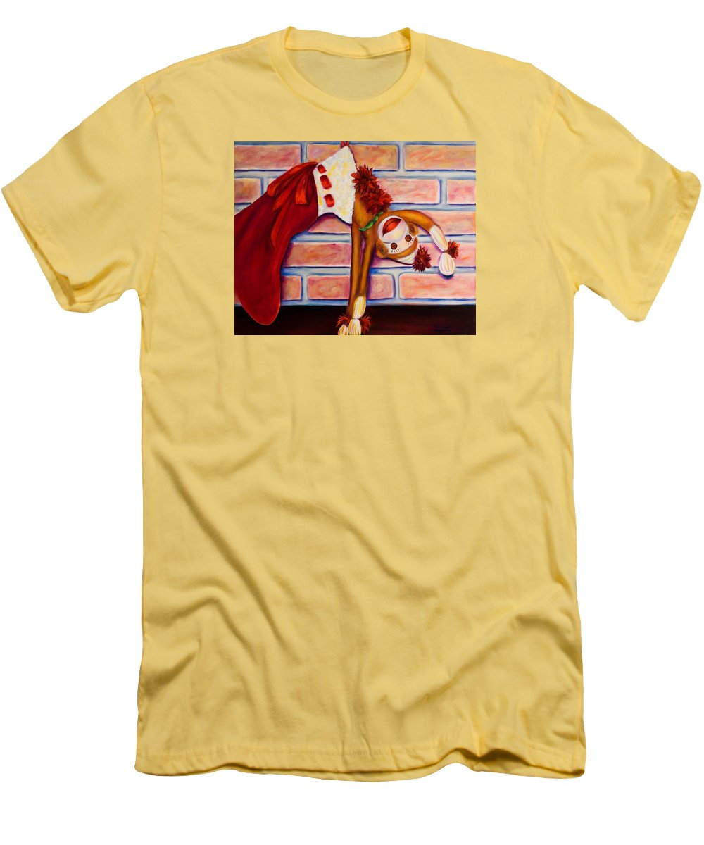 Sock Monkey Men's T-Shirt (Athletic Fit) featuring the painting Christmas With Care by Shannon Grissom