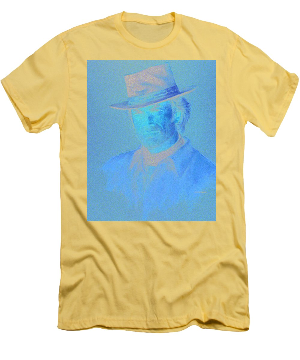Clint Eastwood Portrait Men's T-Shirt (Athletic Fit) featuring the pastel Clint Eastwood by Charles Vernon Moran