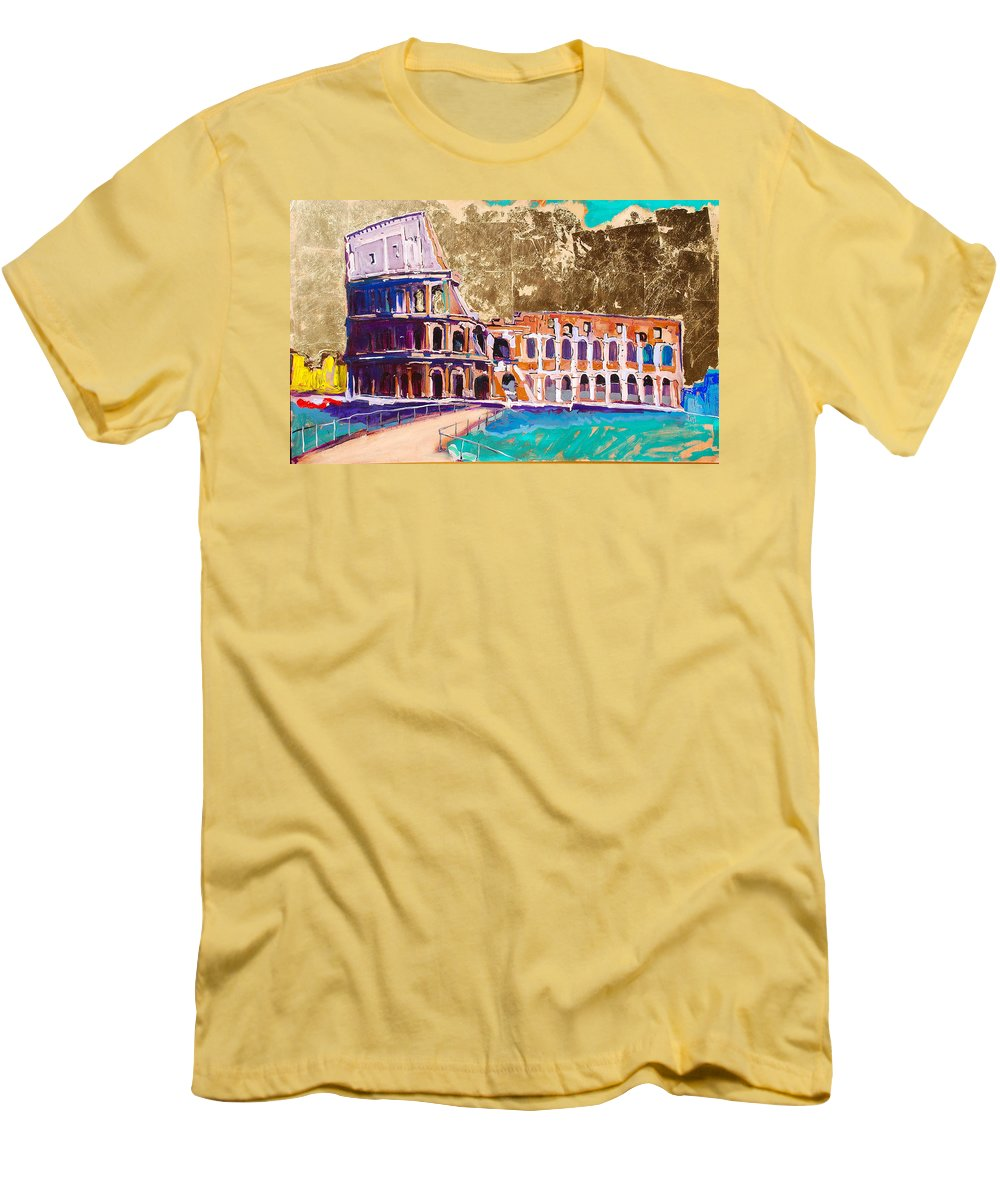 Rome Men's T-Shirt (Athletic Fit) featuring the painting Colosseum by Kurt Hausmann