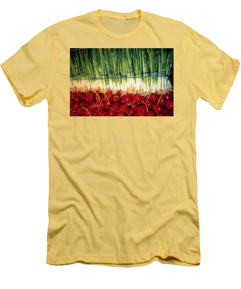 Vegetable Men's T-Shirt (Athletic Fit) featuring the photograph Comlimentary Vegetables by Laurie Paci