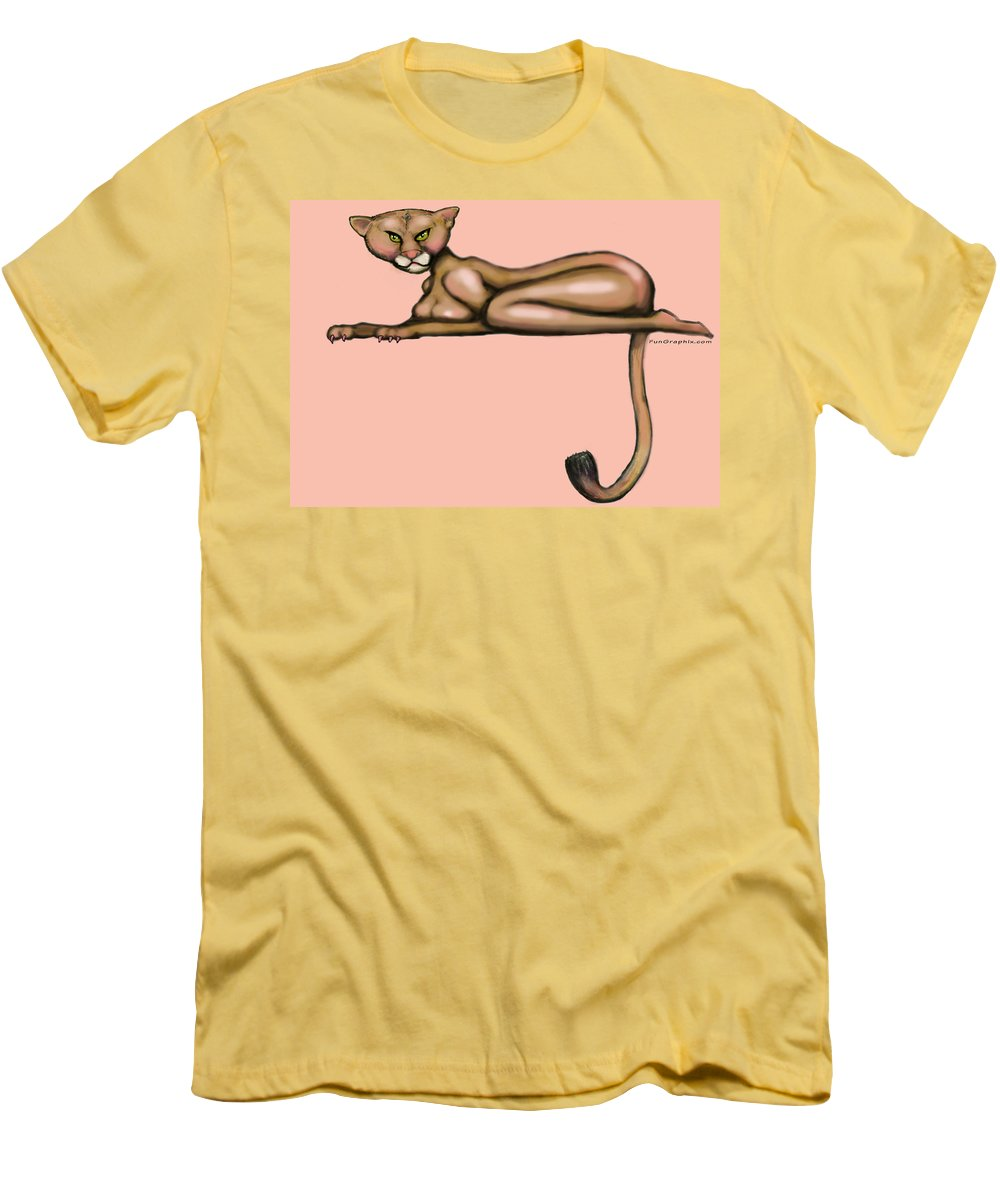 Cougar Men's T-Shirt (Athletic Fit) featuring the greeting card Cougar by Kevin Middleton