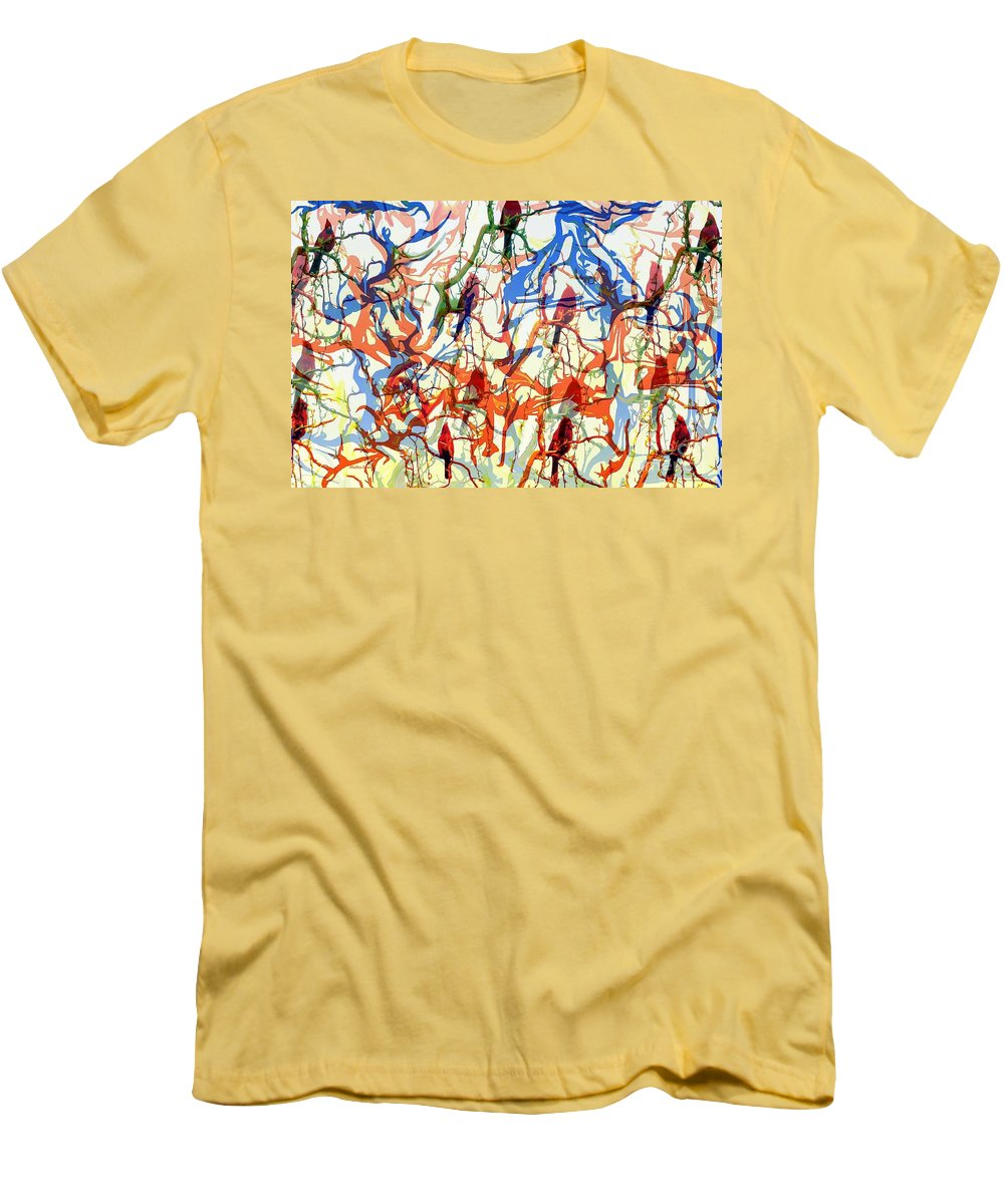 Birds Men's T-Shirt (Athletic Fit) featuring the digital art Crazy Cardinals by Shelley Jones