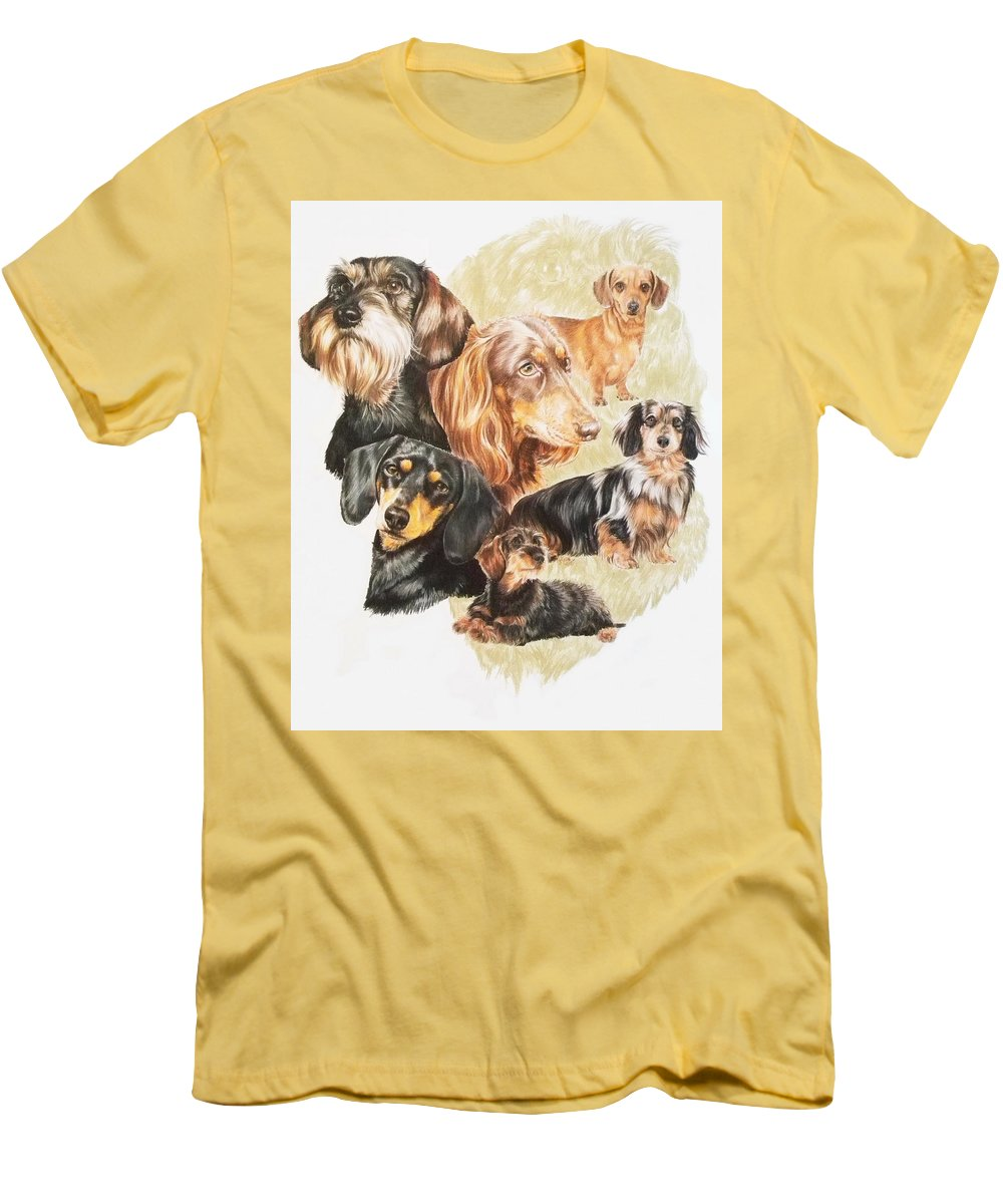 Purebred Dog Men's T-Shirt (Athletic Fit) featuring the drawing Dachshund W/ghost by Barbara Keith