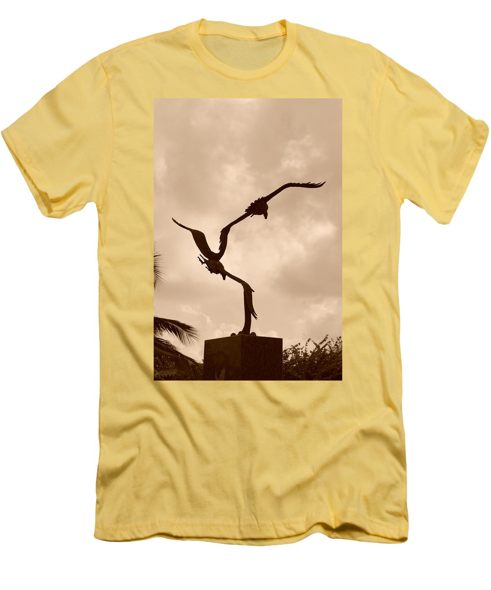 Sepia Men's T-Shirt (Athletic Fit) featuring the photograph Dancing Birds by Rob Hans