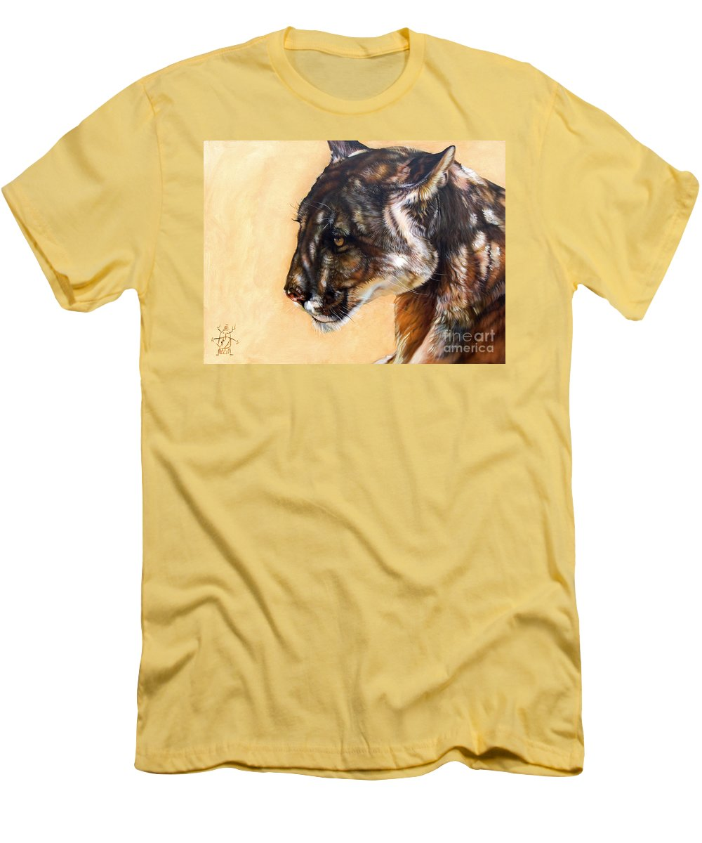 Catamount Men's T-Shirt (Athletic Fit) featuring the painting Dappled by J W Baker