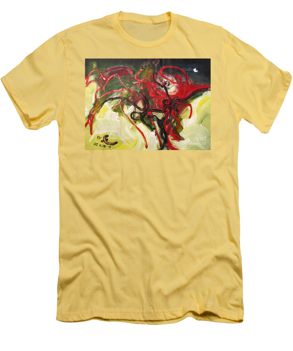 Abstract Paintings Paintings Abstract Art Paintings Men's T-Shirt (Athletic Fit) featuring the painting Don't Bother Me by Seon-Jeong Kim