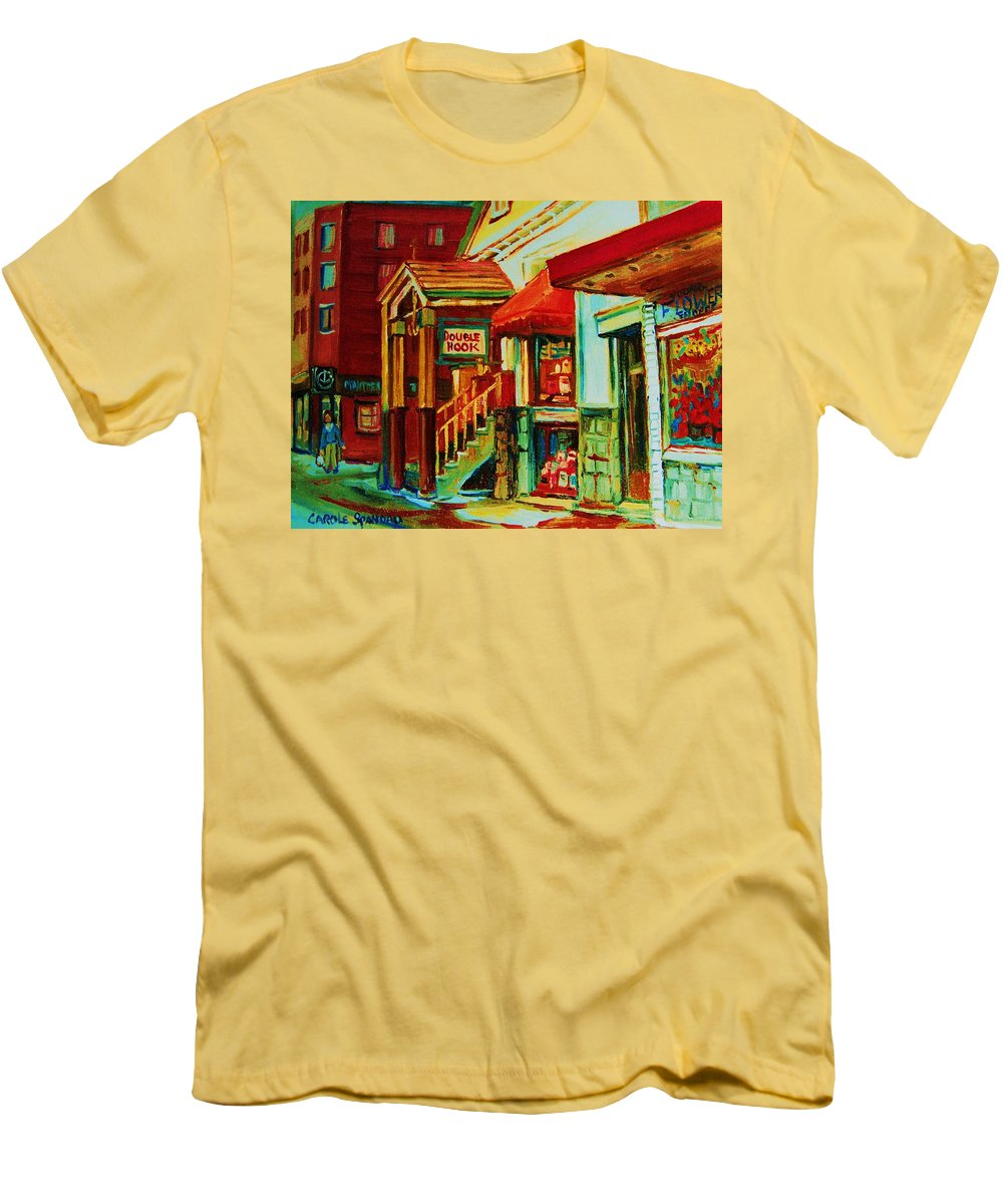 Double Hook Bookstore Men's T-Shirt (Athletic Fit) featuring the painting Double Hook Book Nook by Carole Spandau