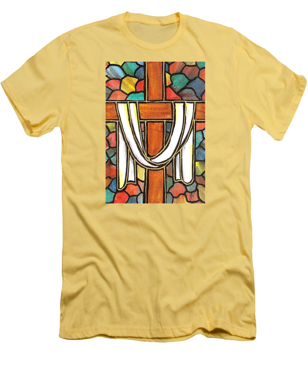 Easter Men's T-Shirt (Athletic Fit) featuring the painting Easter Cross 6 by Jim Harris