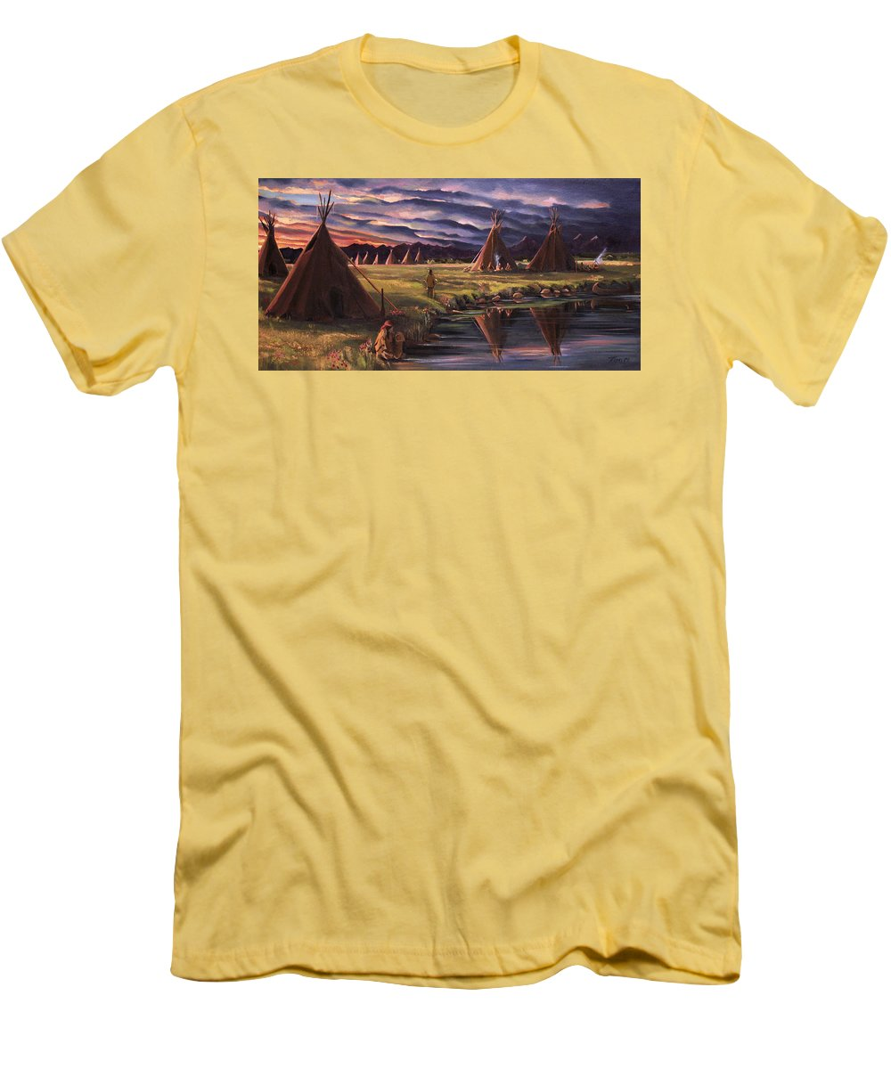 Native American Men's T-Shirt (Athletic Fit) featuring the painting Encampment At Dusk by Nancy Griswold