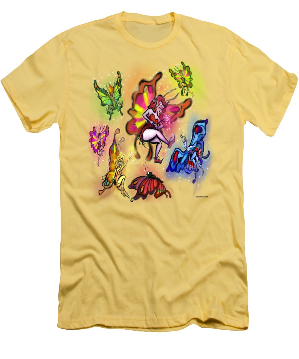Faeries Men's T-Shirt (Athletic Fit) featuring the painting Faeries by Kevin Middleton