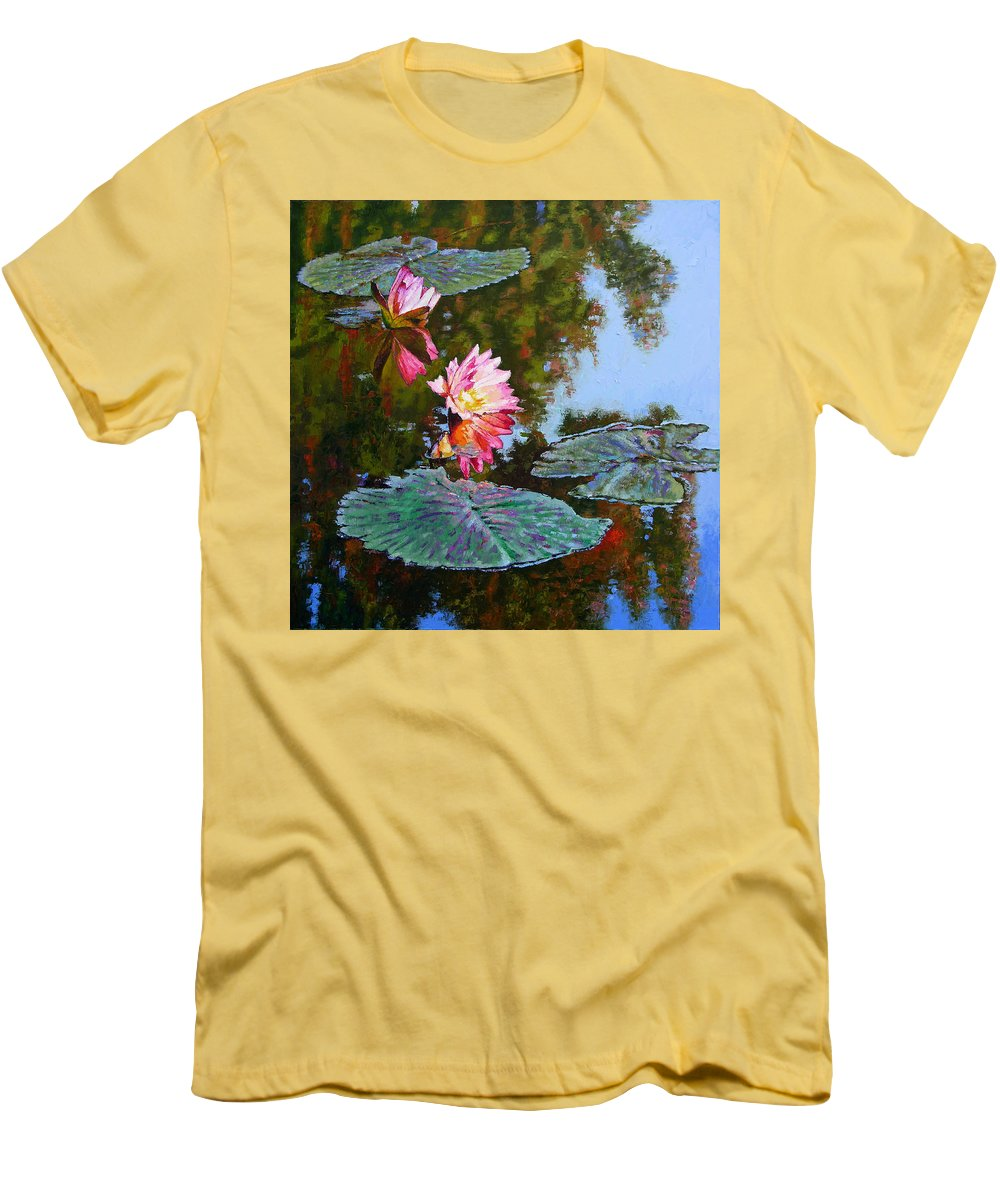 Water Lily Men's T-Shirt (Athletic Fit) featuring the painting Fall Glow by John Lautermilch