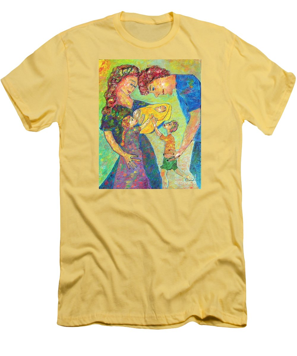 Family Enjoying Each Other Men's T-Shirt (Athletic Fit) featuring the painting Family Matters by Naomi Gerrard