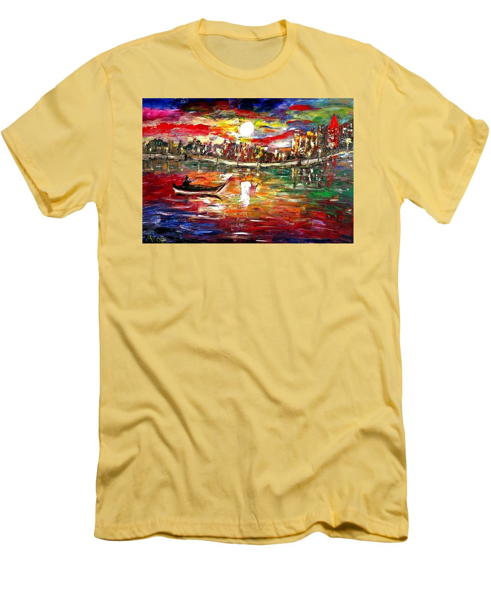 Art Men's T-Shirt (Athletic Fit) featuring the painting Fishing In The Moonlight by Luiza Vizoli