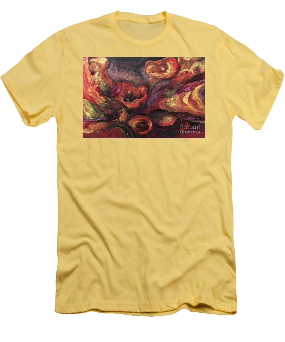 Calla Lilies Men's T-Shirt (Athletic Fit) featuring the painting Floral Sun Worship by Nadine Rippelmeyer