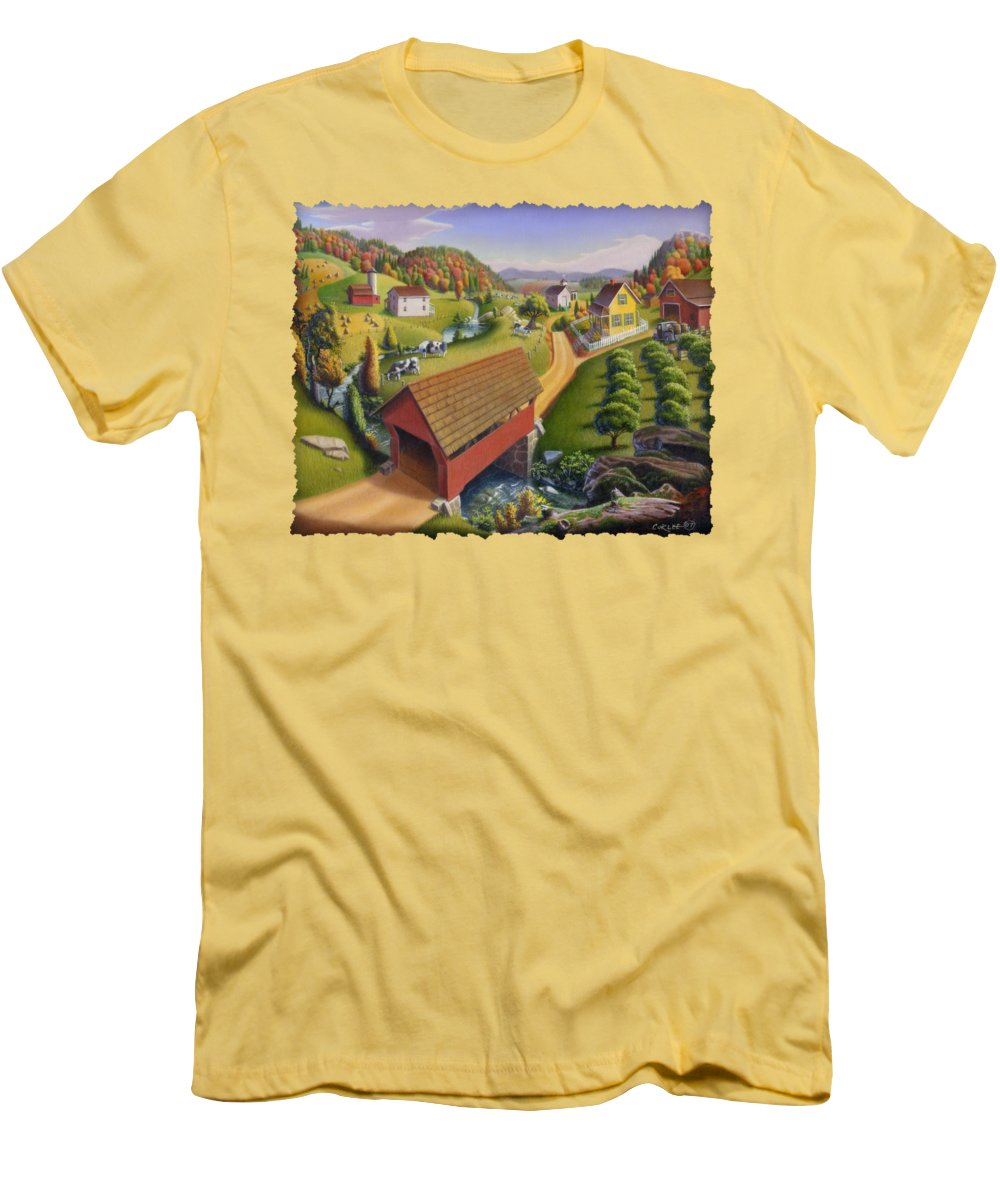 Covered Bridge Men's T-Shirt (Athletic Fit) featuring the painting Folk Art Covered Bridge Appalachian Country Farm Summer Landscape - Appalachia - Rural Americana by Walt Curlee