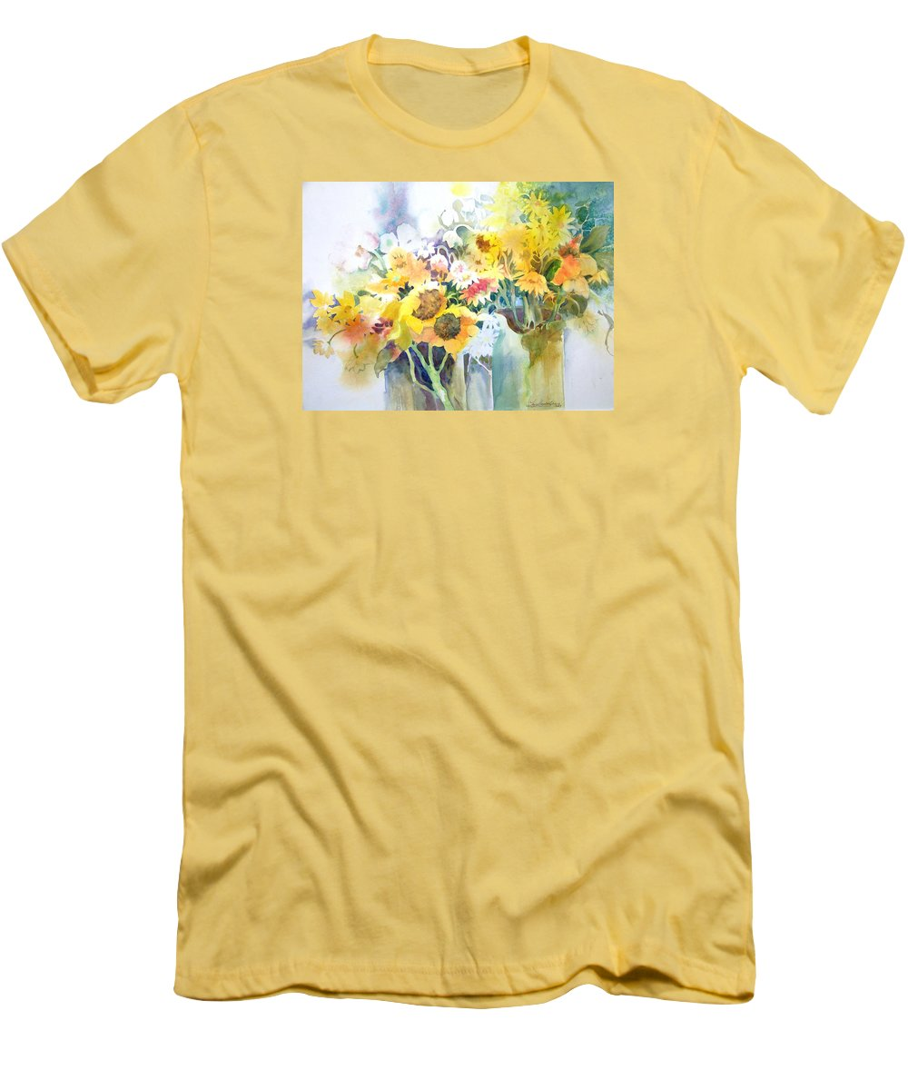 Contemporary;watercolor;sunflowers;daisies;floral; Men's T-Shirt (Athletic Fit) featuring the painting Fresh-picked by Lois Mountz