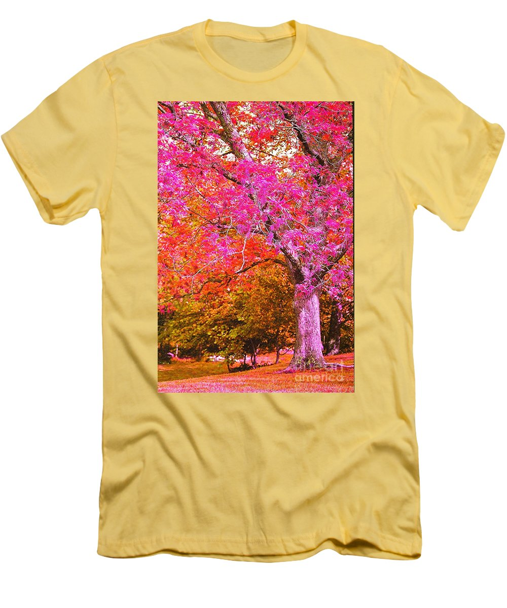 Fuschia Men's T-Shirt (Athletic Fit) featuring the photograph Fuschia Tree by Nadine Rippelmeyer
