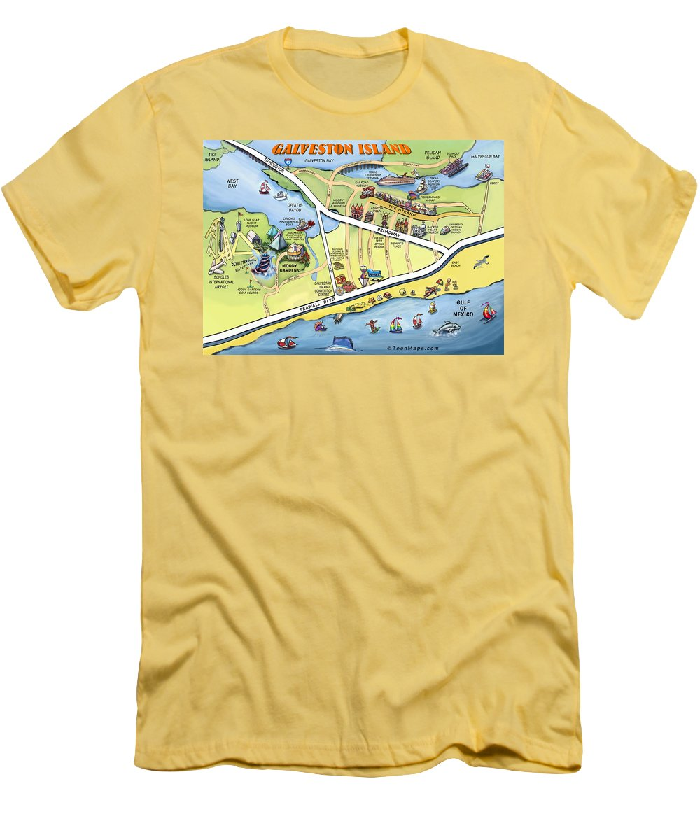 Galveston Men's T-Shirt (Athletic Fit) featuring the digital art Galveston Texas Cartoon Map by Kevin Middleton
