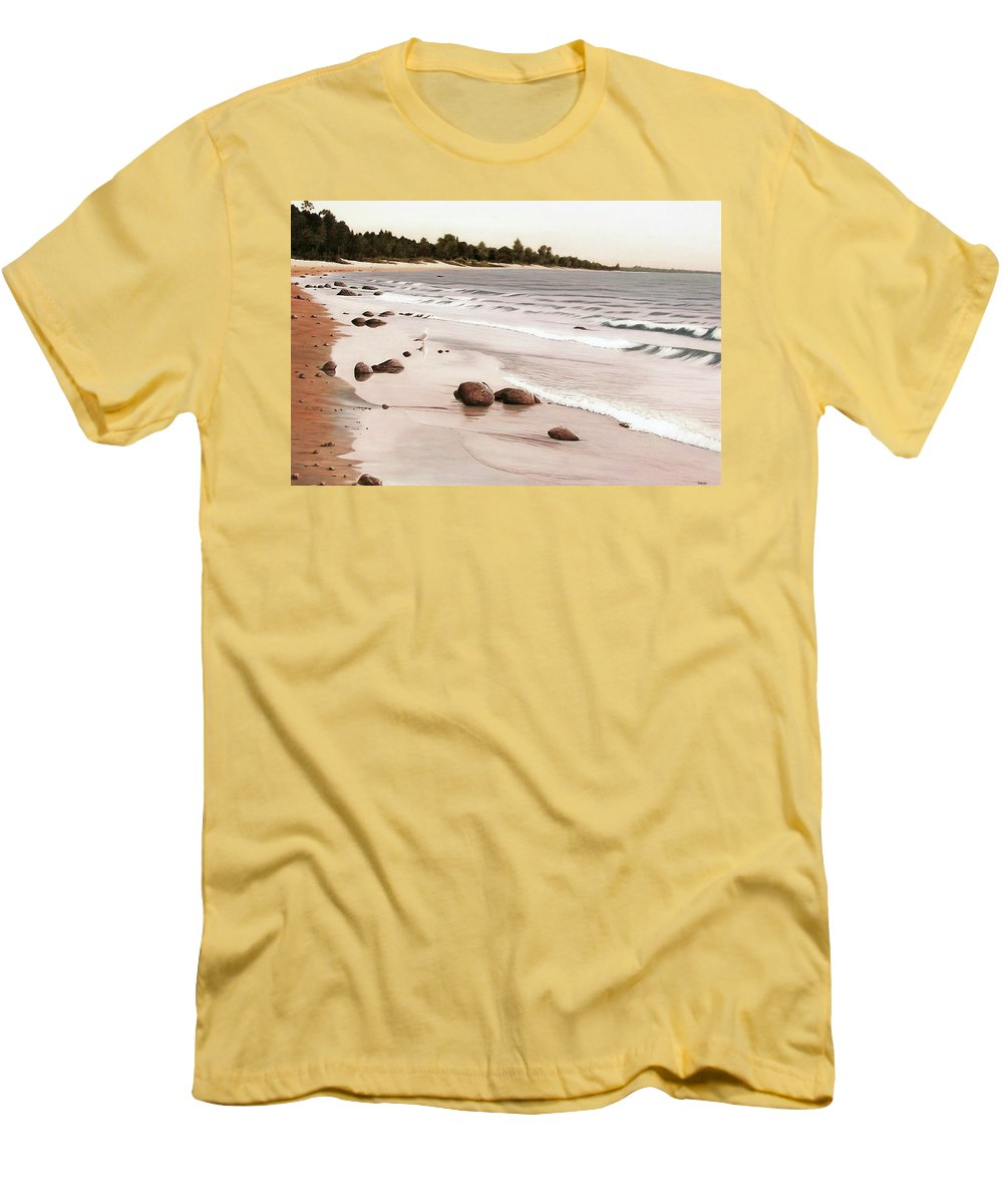 Landscapes Men's T-Shirt (Athletic Fit) featuring the painting Georgian Bay Beach by Kenneth M Kirsch