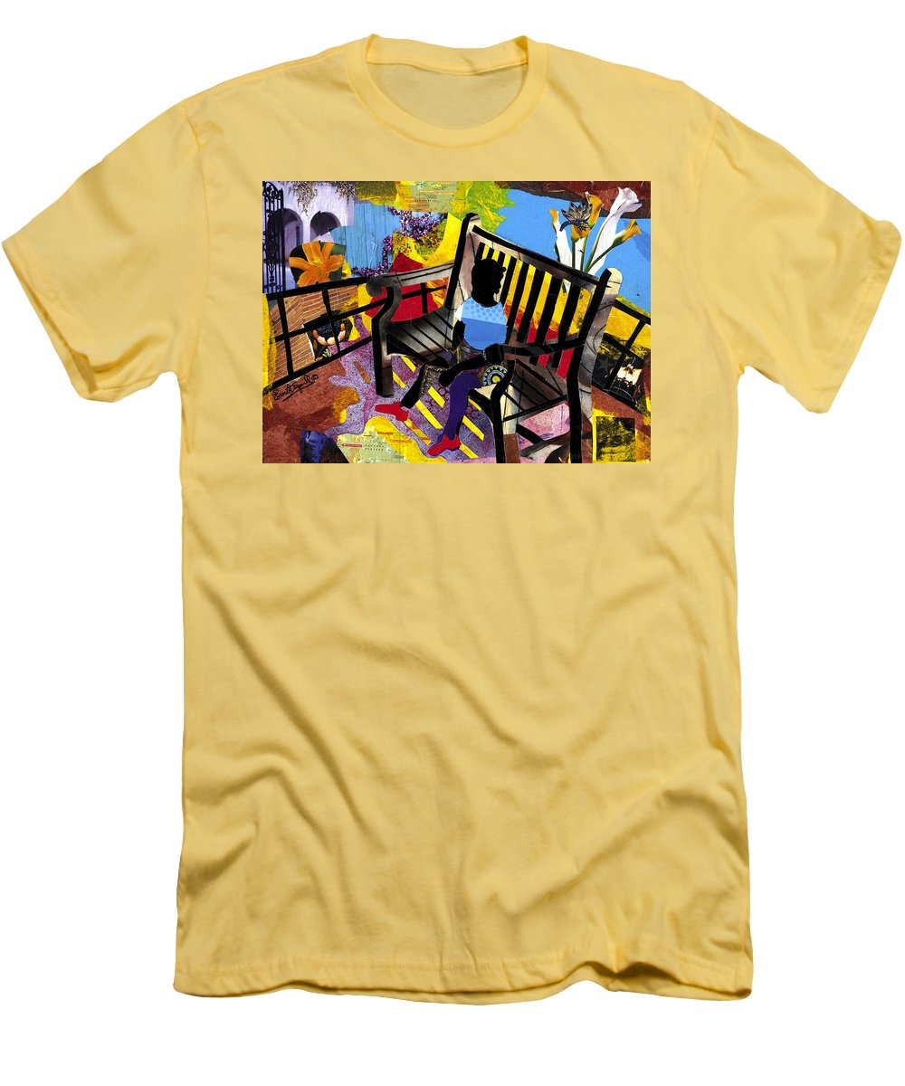 Everett Spruill Men's T-Shirt (Athletic Fit) featuring the painting Girl In Red Shoes by Everett Spruill