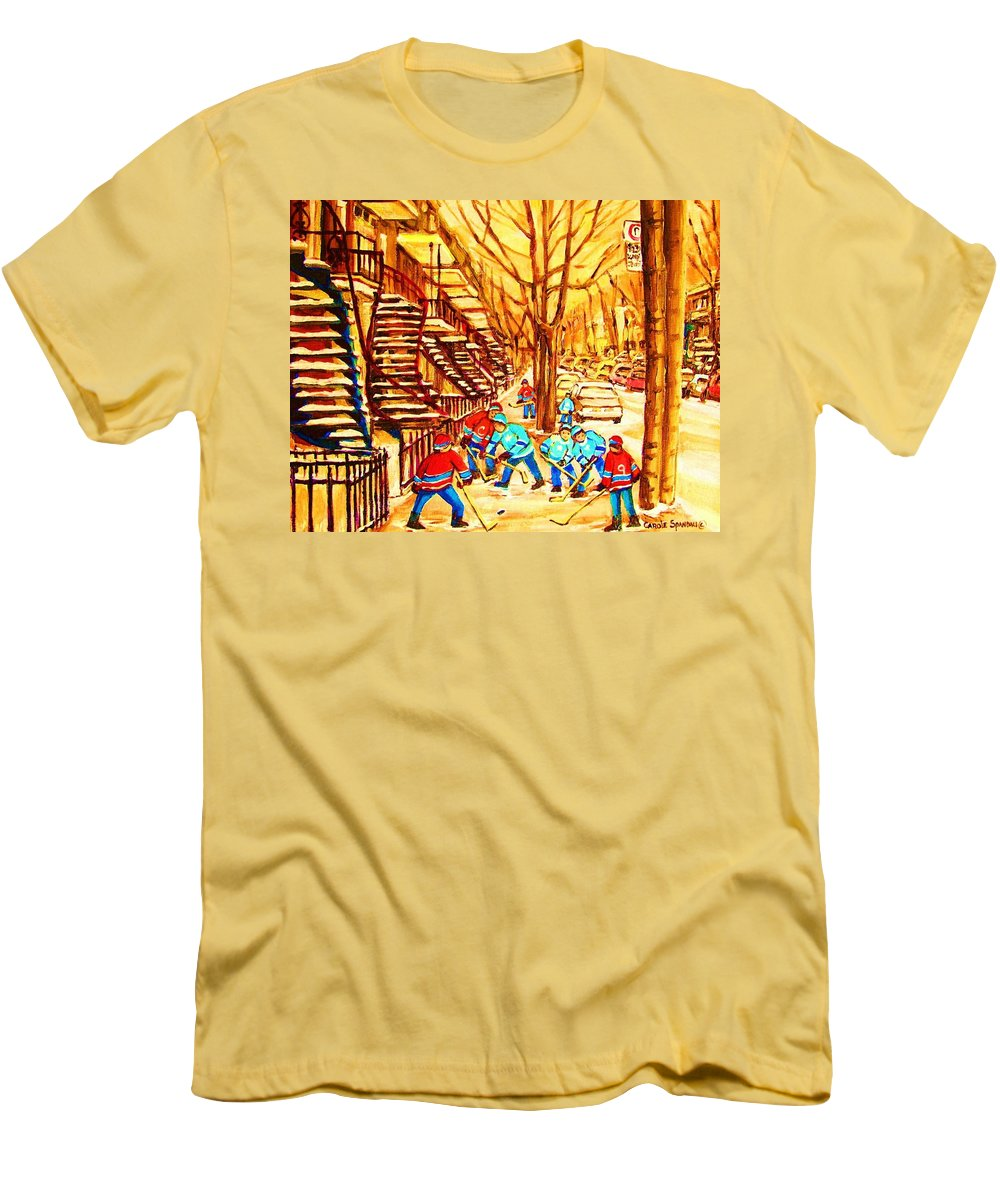 Golden Days Men's T-Shirt (Athletic Fit) featuring the painting Glory Days by Carole Spandau