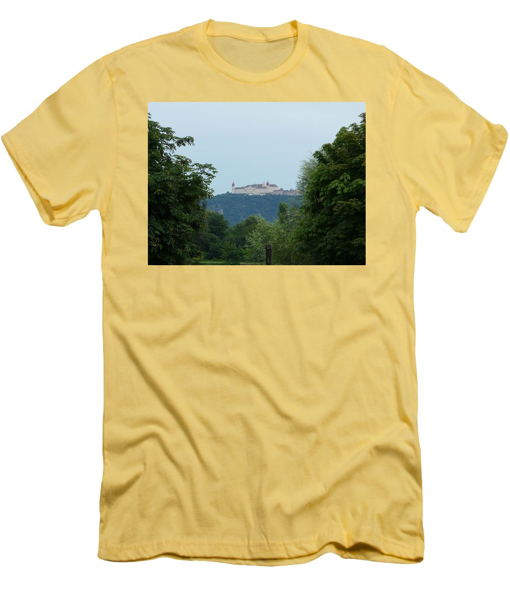 Landscape Men's T-Shirt (Athletic Fit) featuring the photograph Goettweig Abbey by Valerie Ornstein