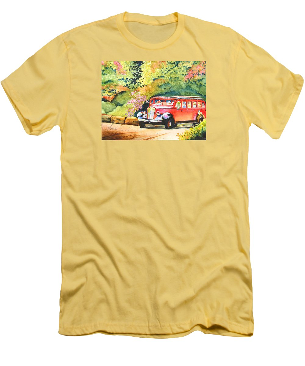 Landscape Men's T-Shirt (Athletic Fit) featuring the painting Going To The Sun by Karen Stark