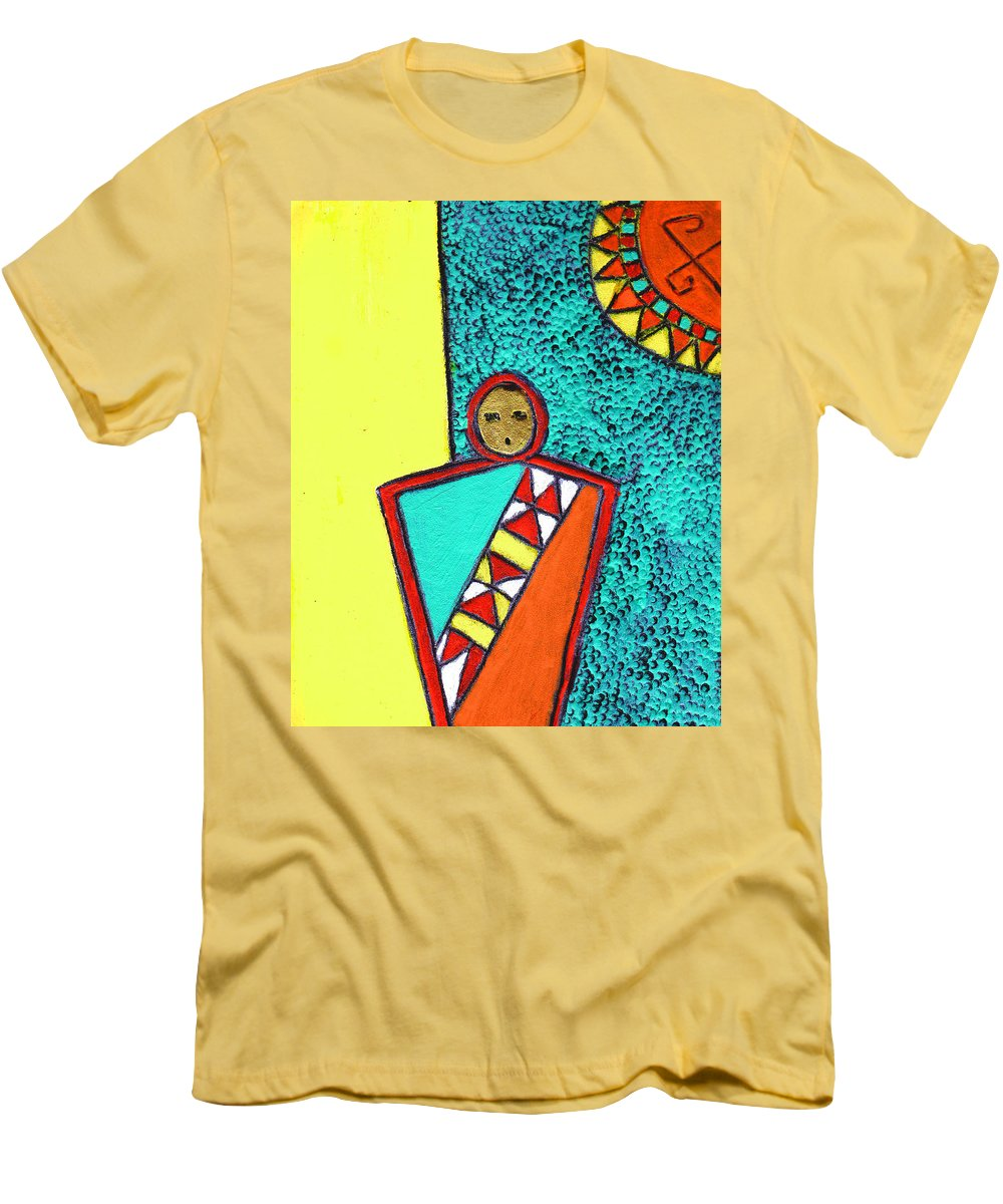 Southwest Men's T-Shirt (Athletic Fit) featuring the painting Golden Child Of The South West by Wayne Potrafka