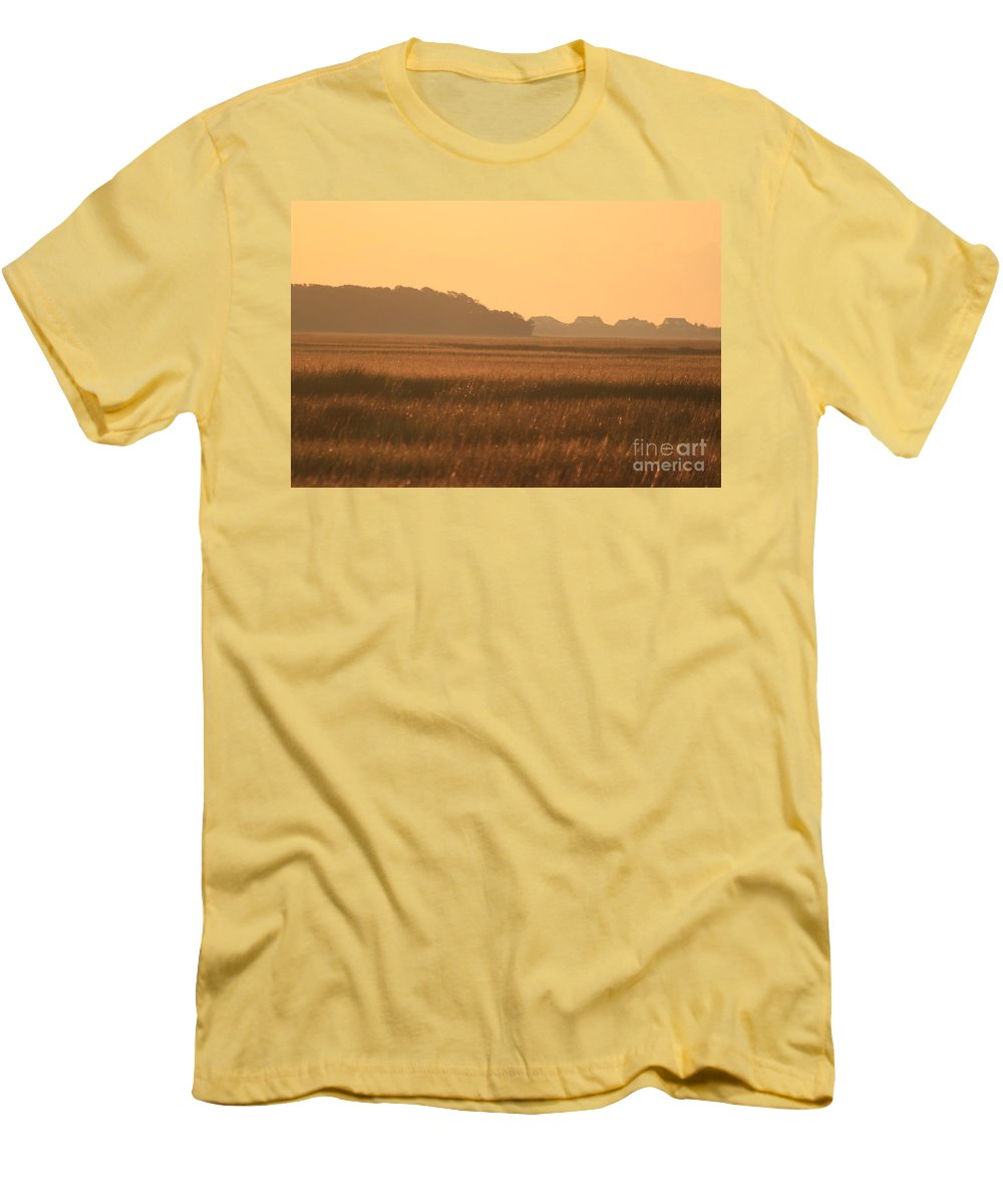 Marsh Men's T-Shirt (Athletic Fit) featuring the photograph Golden Marshes by Nadine Rippelmeyer
