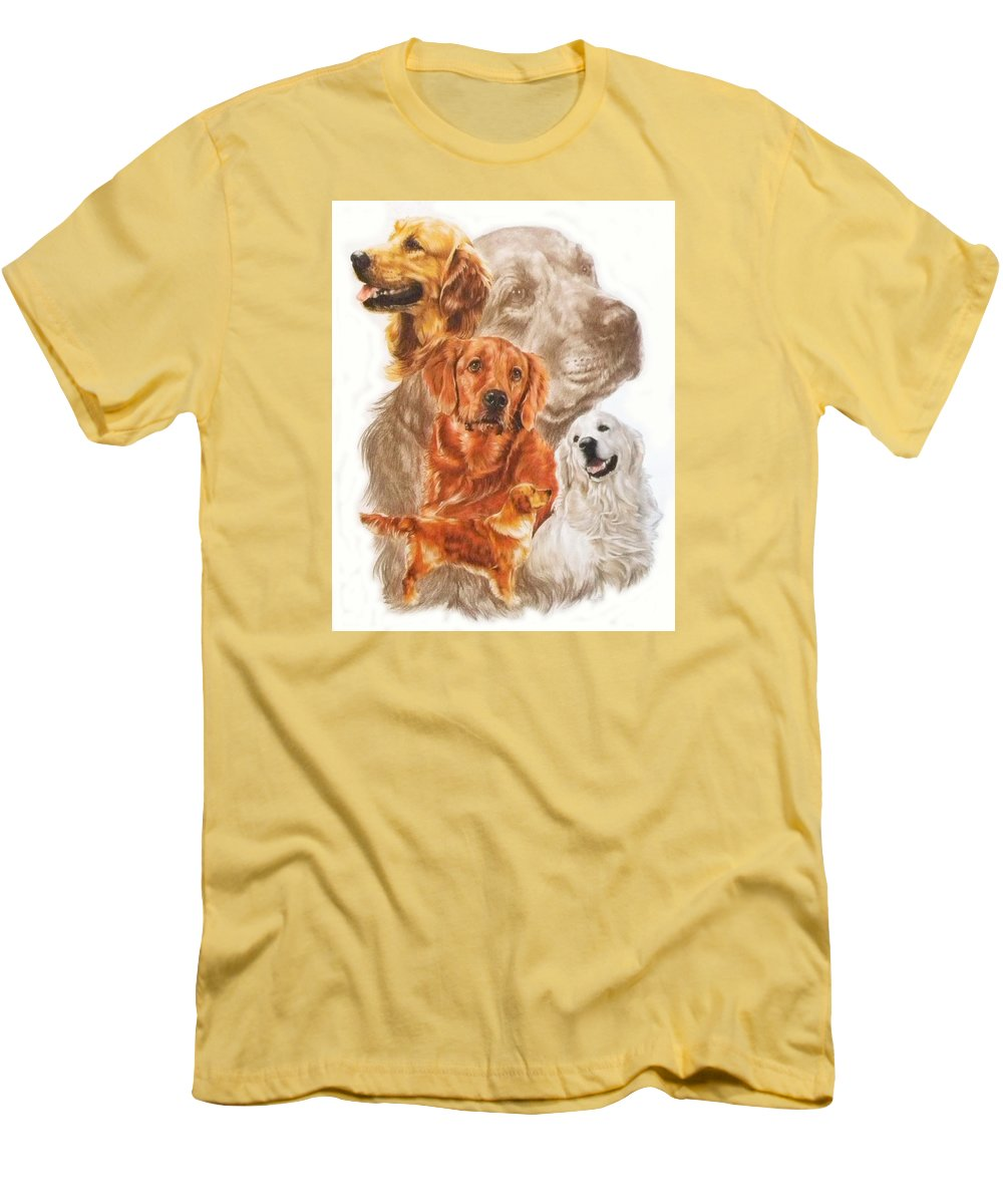 Retriever Men's T-Shirt (Athletic Fit) featuring the mixed media Golden Retriever W/ghost by Barbara Keith