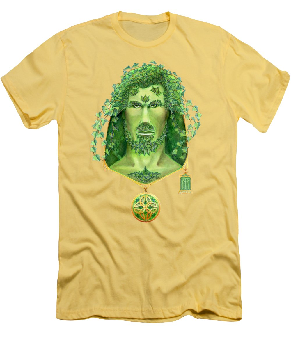 Green Man Men's T-Shirt (Athletic Fit) featuring the painting Ivy Green Man by Melissa A Benson