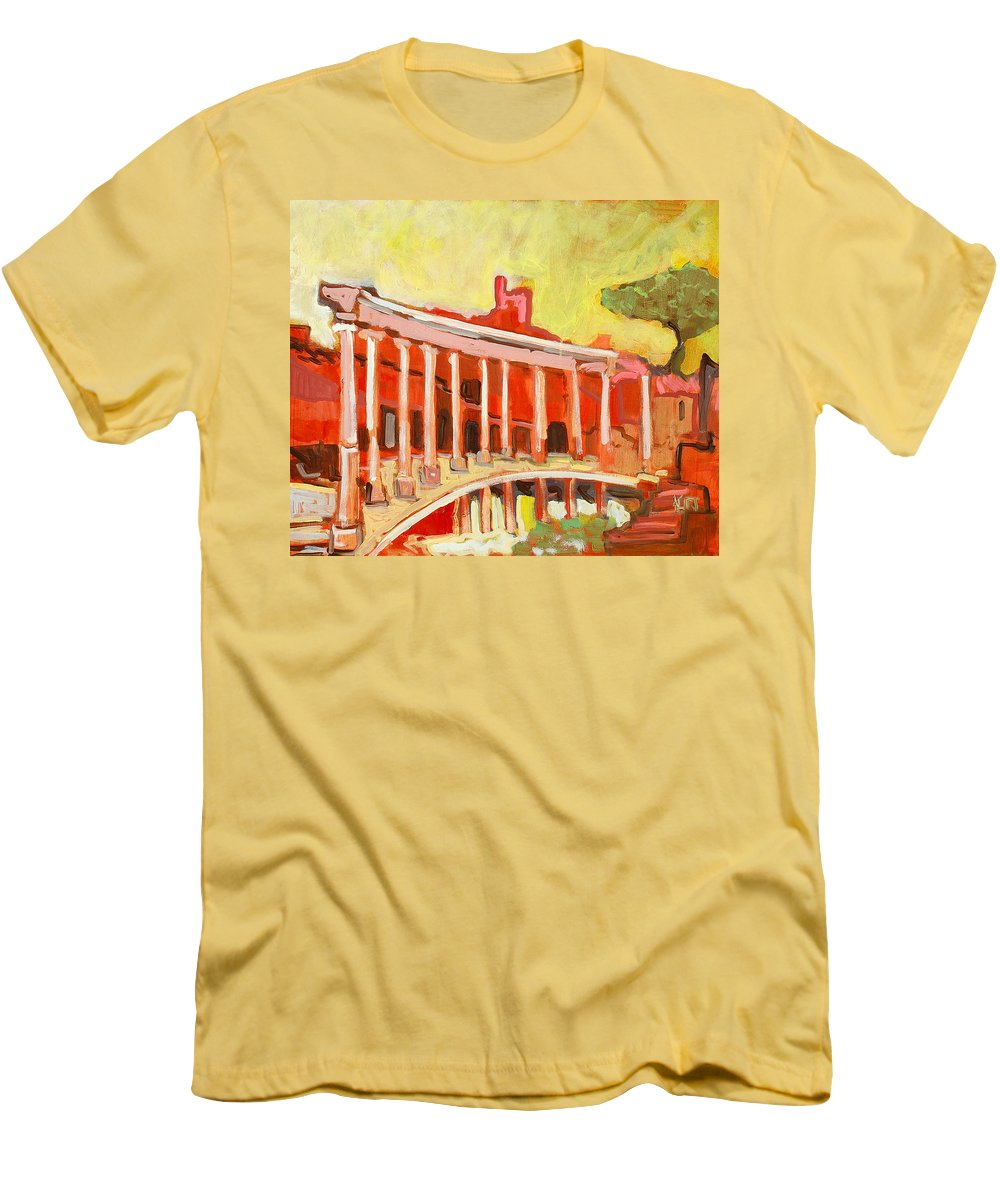 Villa Men's T-Shirt (Athletic Fit) featuring the painting Hadrian's Villa by Kurt Hausmann