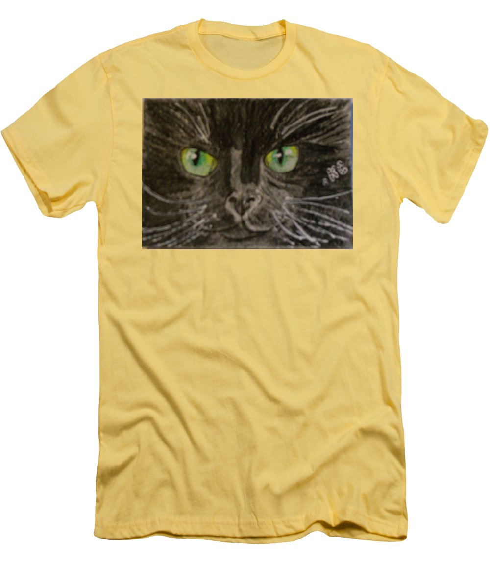 Halloween Men's T-Shirt (Athletic Fit) featuring the painting Halloween Black Cat I by Kathy Marrs Chandler